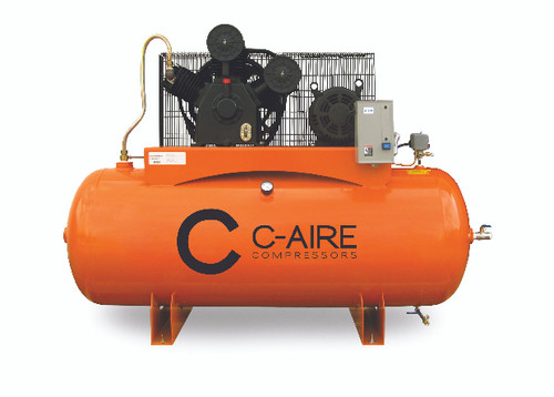 C-Aire A100H120-3230 10 HP 230 Volt Three Phase Two Stage 120 Gallon Air Compressor