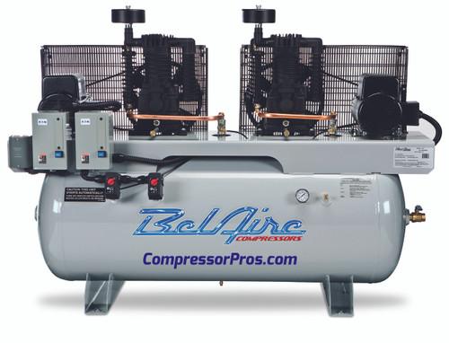 BelAire 6320D 2 x 10 HP Duplex Air Compressor 208-230 Volt Three Phase 200 Gallon