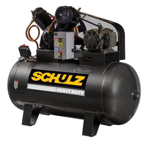 Schulz 7580HV30X-1 7.5 HP 230 Volt Single Phase Two Stage 80 Gallon Horizontal Air Compressor