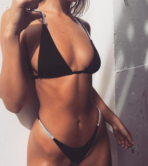 2018 Sexy Solid Top Thong Micro Bikini Women Sequins