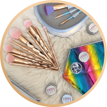 STINAFACE DIAMOND RAINBOW ROSE GOLD BRUSH SET
