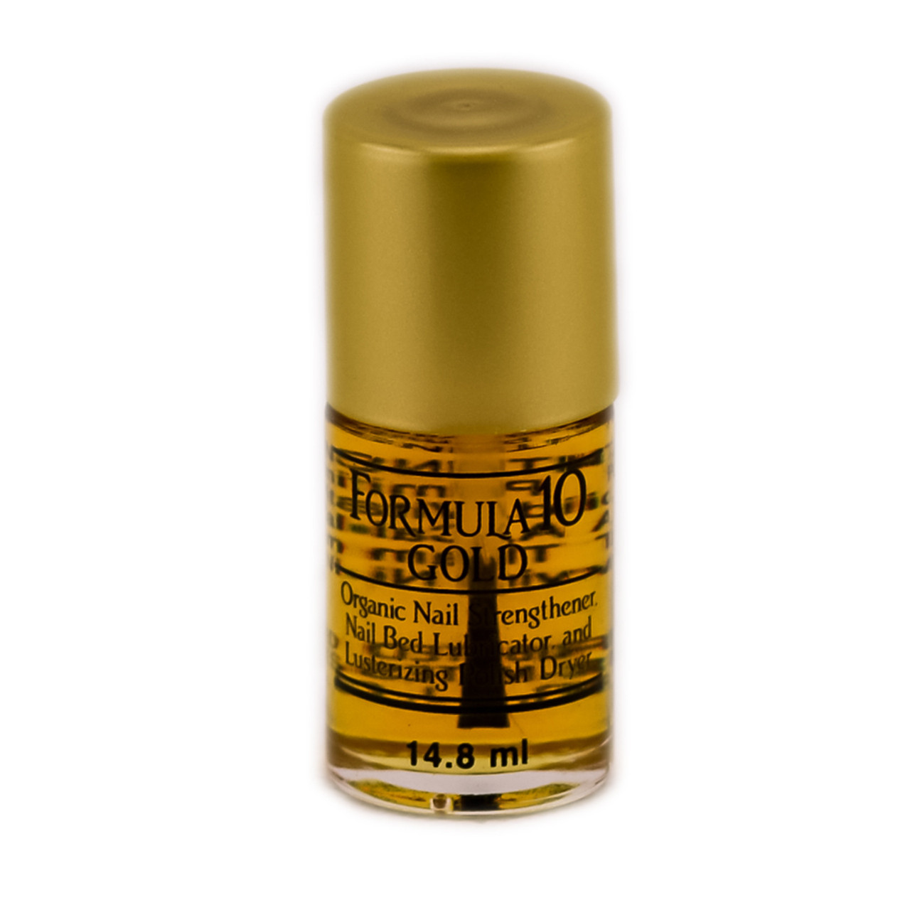 Formula 10 Gold Organic Nail Strengthener - For Nail Bed Lubricator and Polish Dryer - 0.5 oz