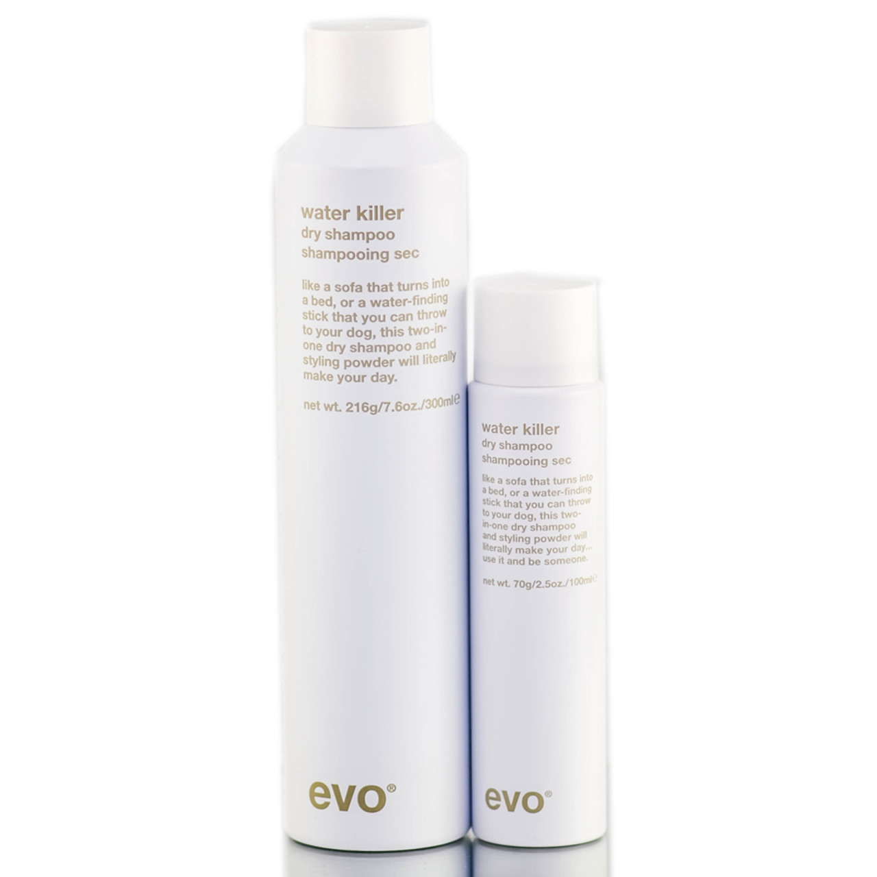 evo water killer dry shampoo a Water killer dry shampoo is a dual purpose styling spray and dry shampoo that  gives hair a new lease on life it contains oryza sativa (rice) starch, aluminum.