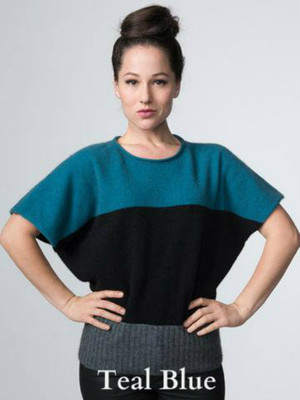 Teal Blue Possum Merino Wool Batty Tri-Stripe Top by possumdown