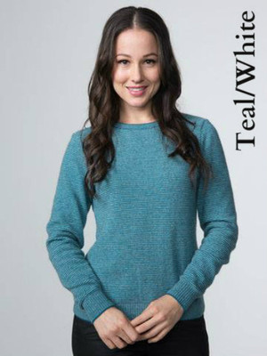 Teal/White Crew Neck Striped Jumper