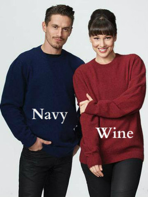 Possum Merino Wool Classic Crew Neck Sweater possumdown in Navy Blue & Wine Red