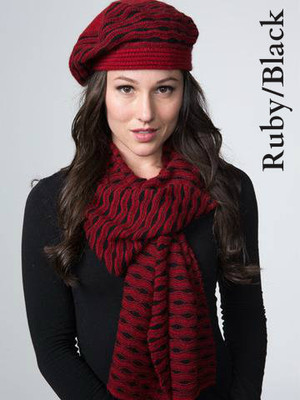 Ruby red and black Ripple Scarf, matching beret also available.