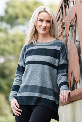 Striped Possum Merino Silk Sweater  by Native World in Graphite Grey on Silver Grey
