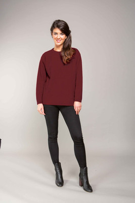 Moss Stitch Jumper in Plum by Trilogy