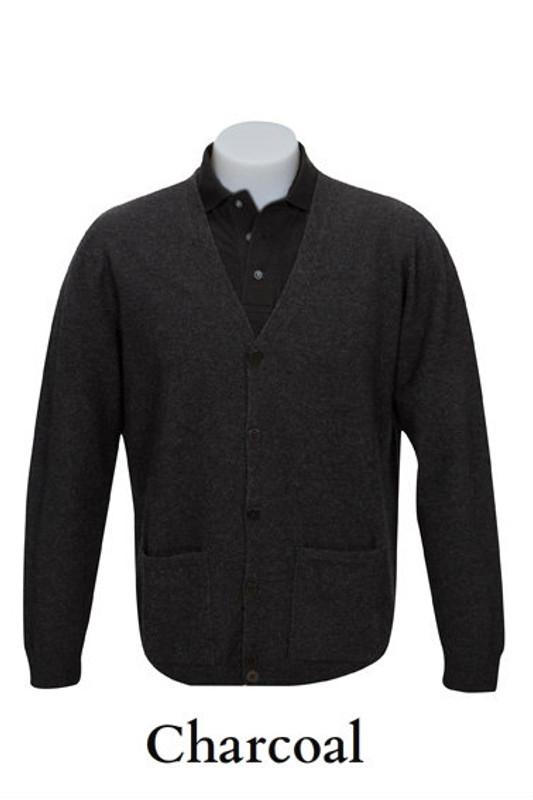 V Neck Plain Cardigan Possum Merino Wool Silk by Native World NZ in Charcoal Grey
