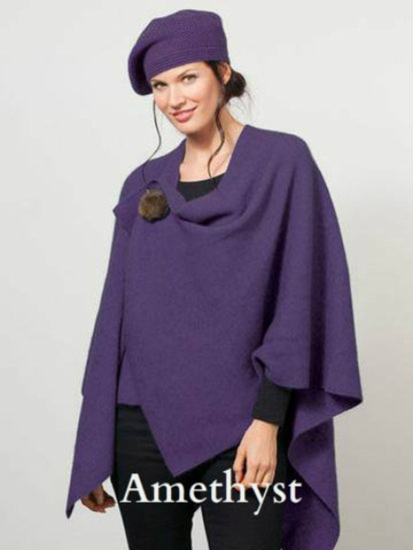 Amethyst Purple Possum Merino Wool Cocoon Wrap with Removable Brooch by possumdown