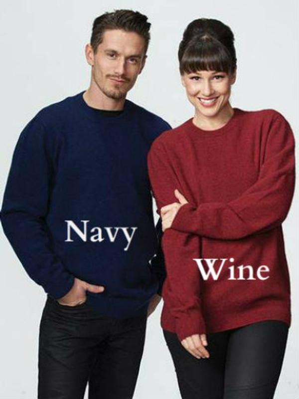 Possum Merino Wool Classic Crew Neck Sweater possumdown in Navy Blue & Wine Red