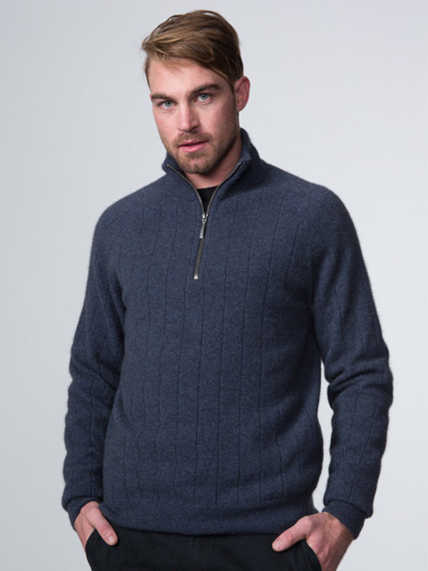 Wide rib zip collar sweater in possum and merino lambswool, in denim blue.