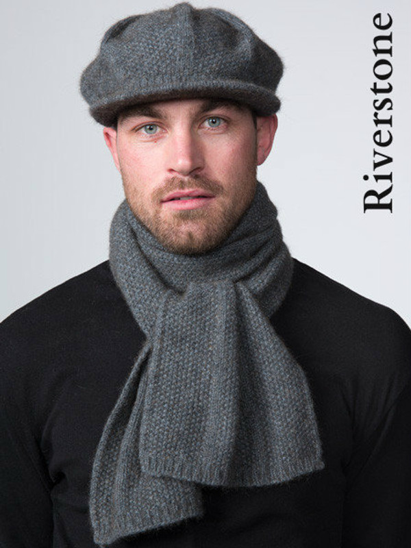 Textured peak cap made from New Zealand natural fiber in riverstone grey.