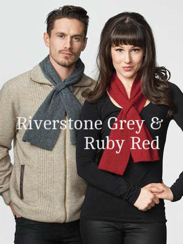 Riverstone Grey and Ruby Red Fine Neck Warmer by possumdown