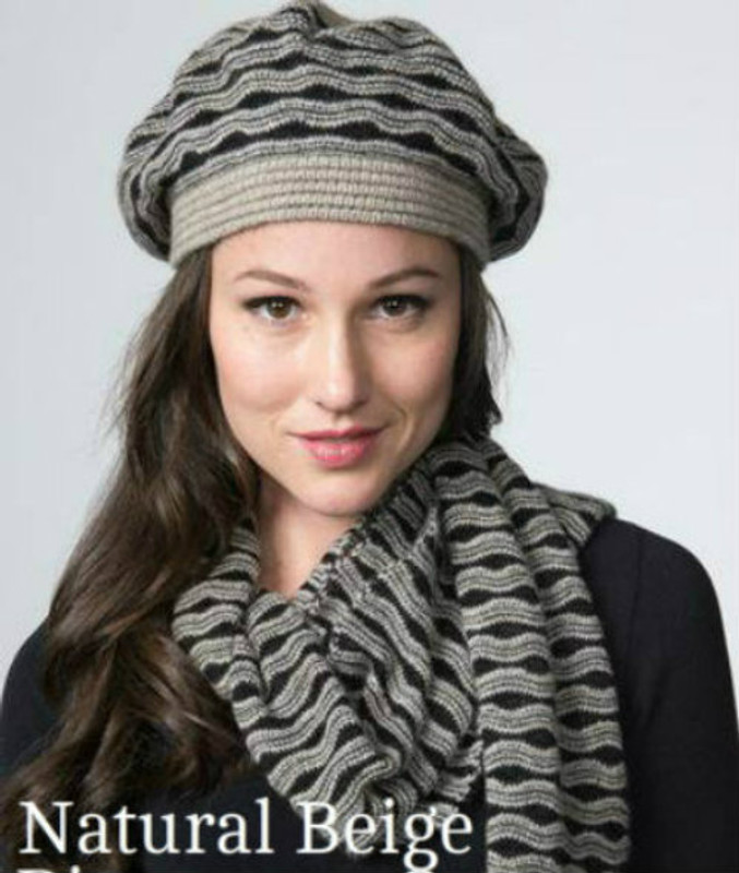 Possum Merino Wool Ripple Beret by possumdown in Natural Beige/Black