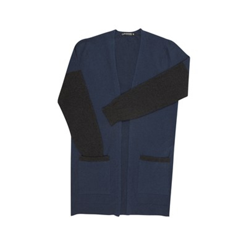 Two Tone Edge to Edge Possum Merino Wool Cardigan by Native World in Riviera Blue with Charcoal (Dark Grey) accents