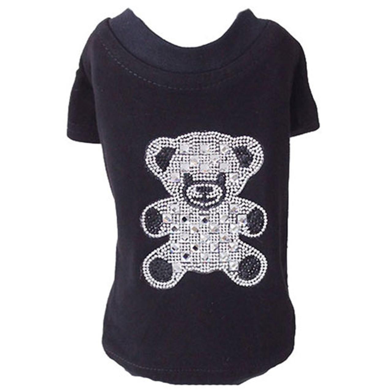 Teddy Bear Rhinestone Tank Black Puppy Kisses