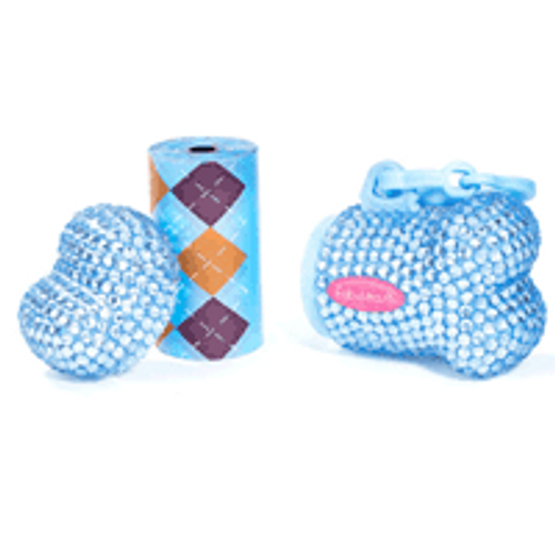 Bling Bone Bag Dispenser | Blue