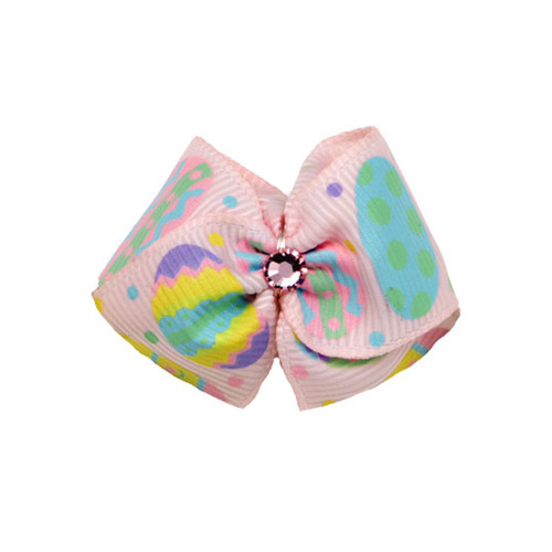 Easter Egg Dog Hair Bow | Pink