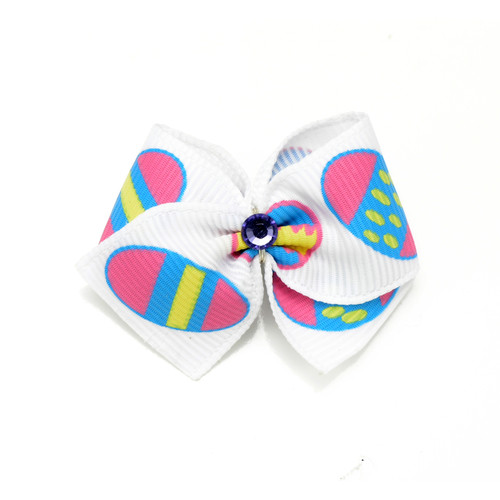 Easter Egg Dog Hair Bow | White