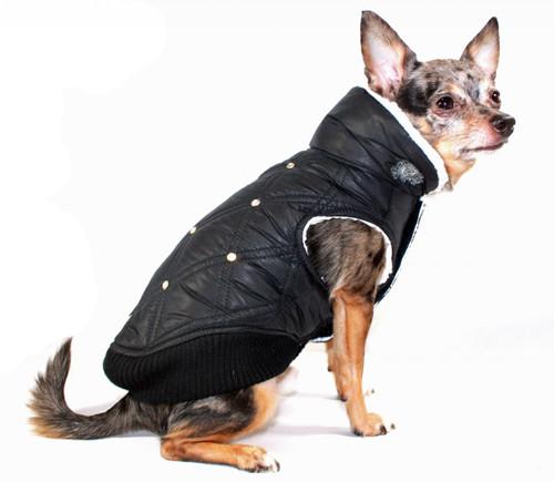 Rhinestone & Fleece Puffer Dog Coat