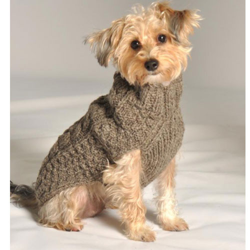 Cable Knit Dog Sweater | Grey