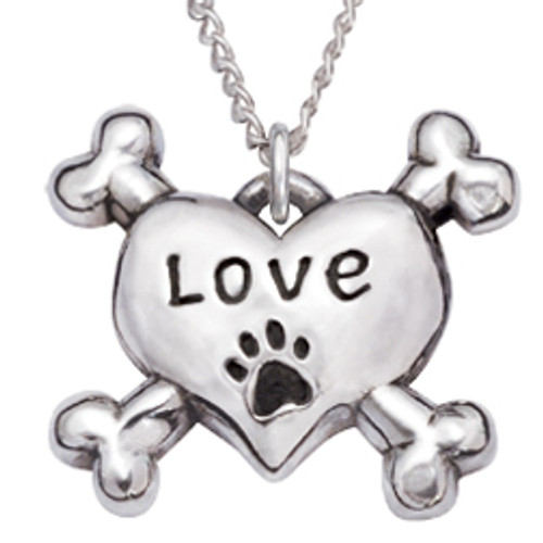 Sterling Silver Human Necklace | Heart & Crossbones