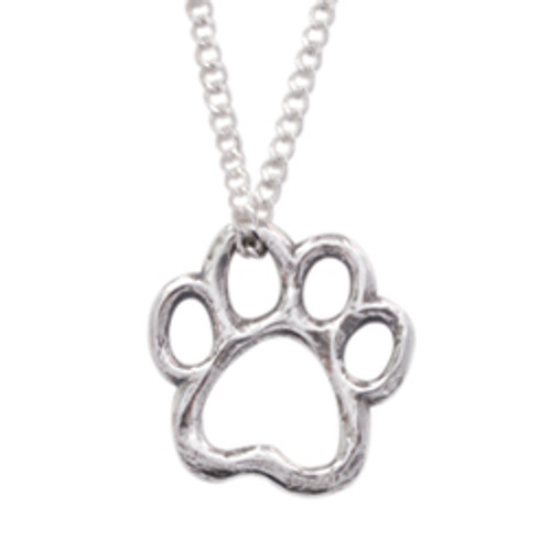 Sterling Silver Human Necklace | Paw Cut Out Heart