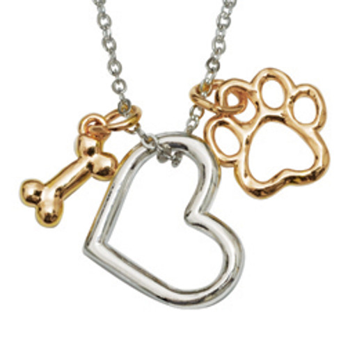 Dog Lover Human Necklace | Heart & Paw Dog Charm