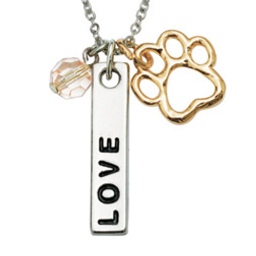 Dog Lover Human Necklace | Love Bar Charm & Bead