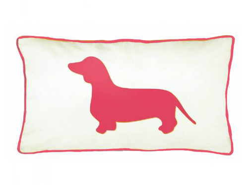 Pet Lover Home Decor |  Dachshund Silhouette Pillow Sham | Pink