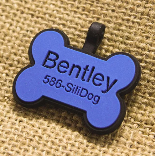 Silent Dog ID Tag | Bone Blue