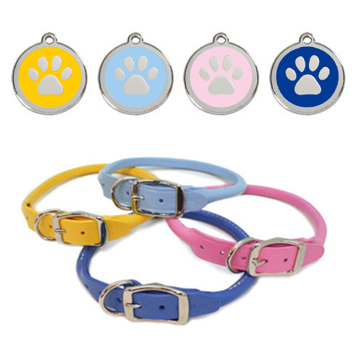 Leather Dog Collar & ID Tag Set | Spring