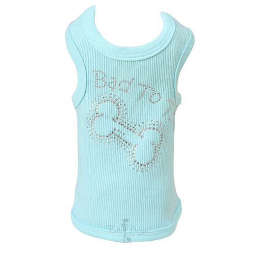Bad to the Bone Rhinestone Tank | Blue