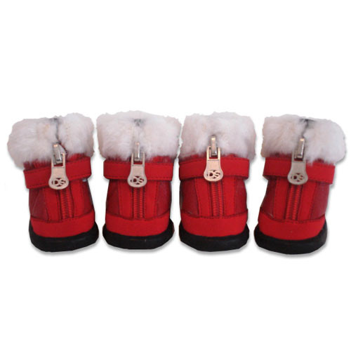 Faux Fur Dog Boots | Red