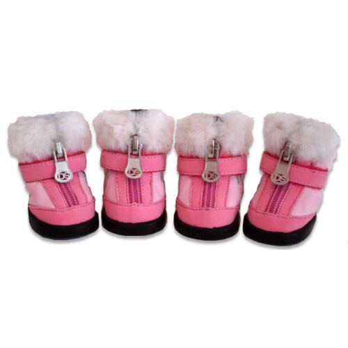 Faux Fur Dog Boots | Pink