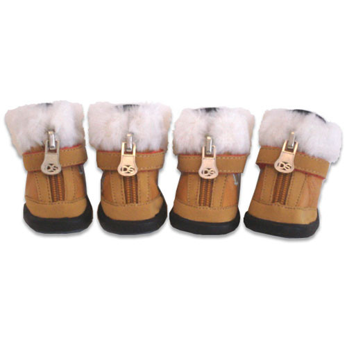 Faux Fur Dog Boots | Brown