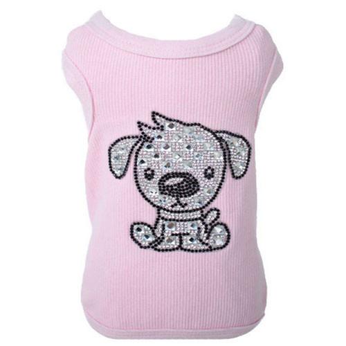 Tank Top | Doggy Love | Pink Rhinestone