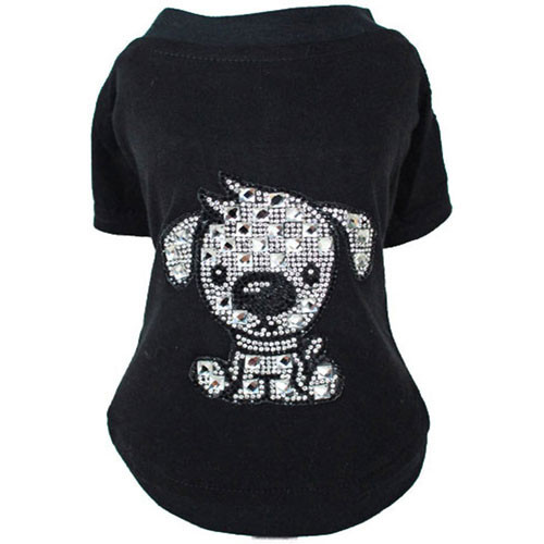 Doggy Love Rhinestone T-Shirt | Black