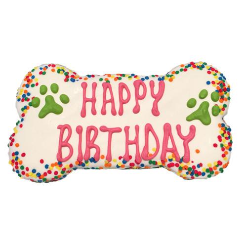 Happy Birthday Confetti Dog Cookie   Pink