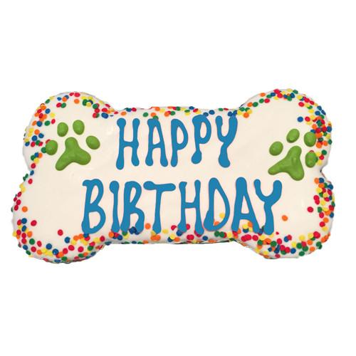 Happy Birthday Confetti Dog Cookie   Blue