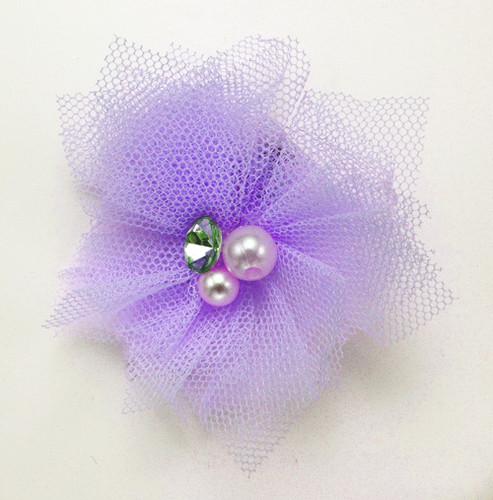 Tulle & Gem Veil Hair Clip  | Lavender