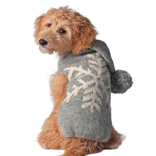 Grey Alpaca Snowflake Dog Sweater
