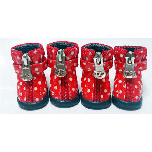 Dot Hiker Hounds Dog Boots | Red