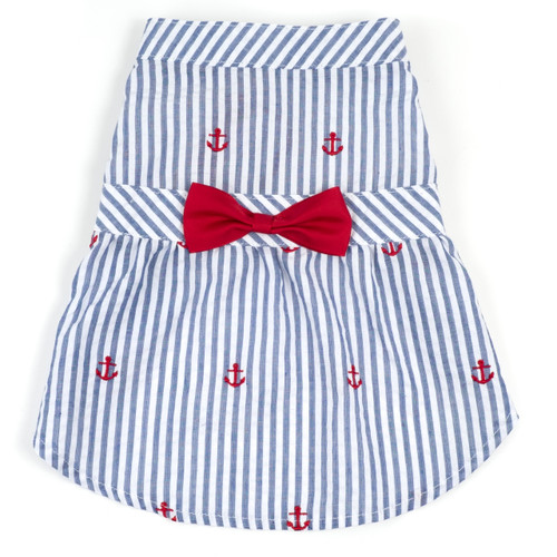 Worthy Dog Cotton Dog Dress | Navy Stripes & Anchor