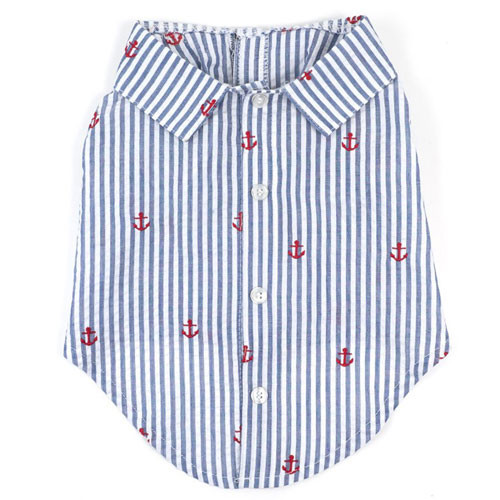 Worthy Dog Cotton Shirt | Navy Stripes & Anchor