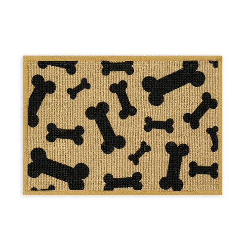 Jute Dog Placemat | Black & Neutral Bones
