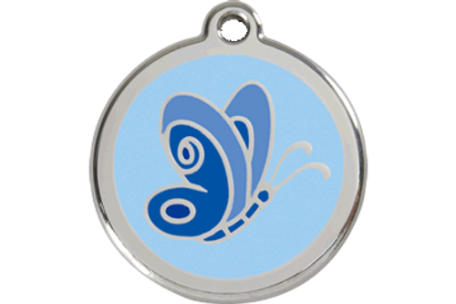 Enamel Dog ID Tag | Butterfly Blue