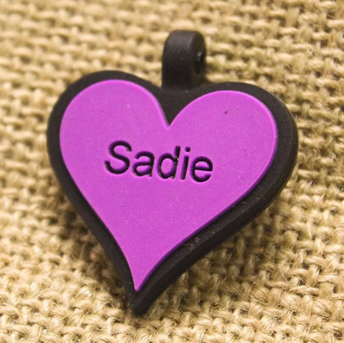 Silent Dog ID Tag | Heart Purple